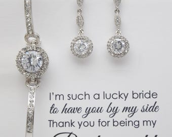 Bridal earrings and bracelet set, Bridesmaid set, Wedding Bridal set, Swarovski Crystal Jewelry set, Bridesmaid earrings and bracelet