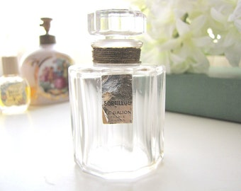 Deco 1930s Le Galion SORTILEGE Paris Faceted Cylindrical French Crystal 1 oz Perfume Bottle Gold Labels from AllieEtCie