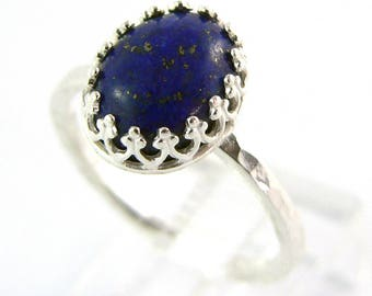 SALE - Size 5 1/2 ONLY Lapis Lazuli Cabochon Crown Sterling Silver Stacking Ring