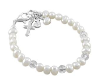 White Pearl Baby Bracelet, Baptism Bracelet, childs jewelry, flower girl bracelets, confirmation, christening gift, pearls, niece, JENNA