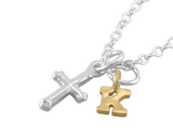 Tiny Cross Necklace, Sterling Silver, Baptism Necklace, small silver cross, personalized, First communion necklace, initial, baby, KORINA
