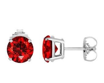 ON SALE Platinum Fancy Vivid Red Diamond Stud Earrings 2.12 Carat Certified Handmade