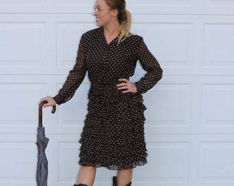 Vintage Chocolate Brown and White Polka Dot Ruffle Skirt Mr Mench Shirt Dress