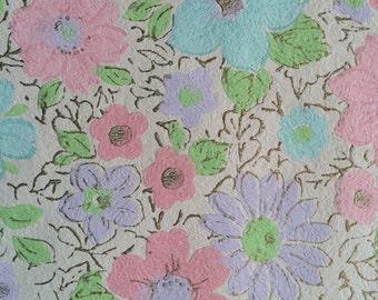 Vintage Wallpaper - Pink, Blue, Lavender Flowers on Cream  1960's - 1 Yard