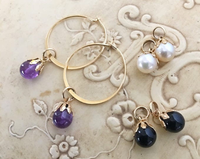 14K Hoop Earrings Interchangeable Charms Amethyst, Pearl, Black Onyx