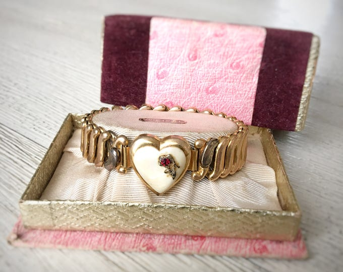 Gold Filled Sweetheart Expansion Bracelet Mother of Pearl Heart Bojar Signed 1946 Original Box