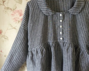 Washed Linen Jacket Black Pinstripe Linen Button Down Front Prairie Lagenlook Ready To Ship One Size