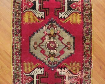 Antique Area Rug Nomadic handwoven Persian wool floor carpet Textile art Red  Shabby worn aged