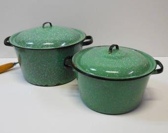 2 Vintage Enamel Cooking Pots Green White Black speckled enamelware Primitive  handles large sauce soup  pot