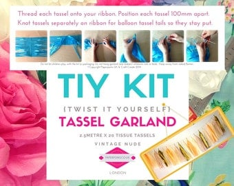 DIY Tassel Garland Kit, DIY Tassel Kit, tassel garlands, parties, shop display, photo shoot, Vintage nude