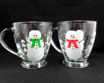 Snowman Coffee Mugs Hand Painted Cups Multi Colored Scarves Set of 2