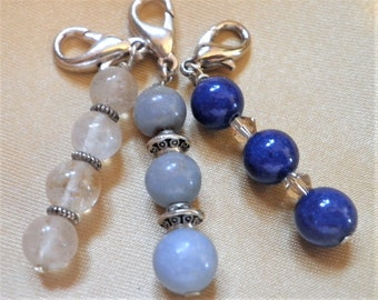 2 Pk. LARGE DOG & CAT Healing Crystal Collar Pet Charms--8mm Bead Style-Choose from 19 different crystals
