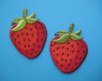 SALE~ 2 pcs Iron-on Embroidered applique strawberry 1.75 inch