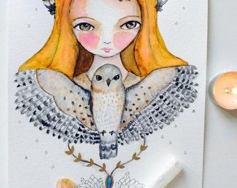 Spirit Animal Painting - watercolor animal, custom art, spirit animal, whimsical art, mixed media art, guidance, animal totem