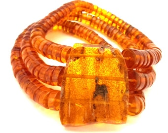 Amber Baltic Beaded Bracelet Vintage Genuine 35.04 Gr Cognac Color Resizing Handmade