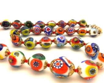 Necklace Original Venetian Glass Millefiori Beads Italy Vintage 65'S Original Excellent Work