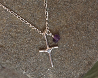 Sterling Silver Cross/Birthstone Necklace