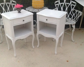 FRENCH PROVINCIAL NIGHTSTANDS / Shabby Chic French Provincial Drexel Nightstands / Romantic Home Side tables / Drexel at Retro Daisy Girl