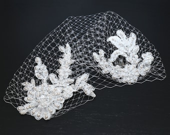 White Lace Birdcage Veil Wedding Lace Hair Accessory