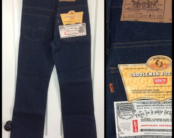 Deadstock Vintage Levi's Dark wash Orange Tab 517 31X31 Boot Cut Hard Denim Flare Blue Jeans made in USA NWT NOS #297