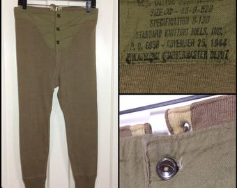 """1944 WW2 US Army green drawers cotton wool Long Johns long underwear sz 32 Lace up back brown cats eye buttons cotton front panel 5.5"""" cuffs"""