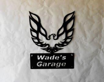 Pontiac Firebird Phoenix Logo Personalized Classic Man Cave Metal Sign Garage Art Satin Black