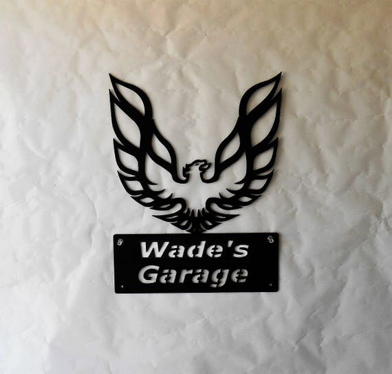 Pontiac Firebird Phoenix Logo Personalized Classic Man Cave Metal Sign Garage Art Satin Black