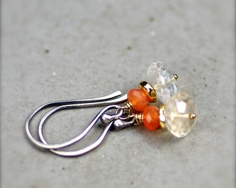 Simple Gemstone Stacks.. Mystic Quartz and Carnelian Gemstone Earrings with Gold Filled and Sterling Silver