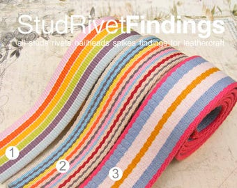 5yards 1.5 inch Cotton Colorful WEBBING Heavy Duty for Bag Tote Strap making