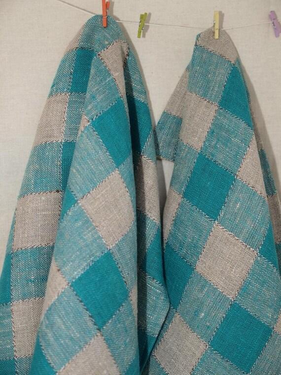 Linen Towels Set of 2 Linen Towels Linen Kitchen Towels- Gray-Green checkered towel - Linen towels