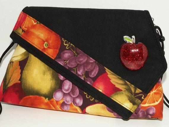 Handmade cotton shoulder bag, purse. Red, yellow, orange, gold, green. Apple Artisan Bag by Lella Rae on Etsy