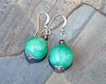 Turquoise Earrings, Jade Earrings, Aqua Earrings, Stone Earrings, Handmade Earrings, Beaded Earrings, Simple Earrings, Stocking Stuffer