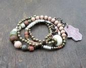 Twin Entity - long layering necklace - wrap bracelet
