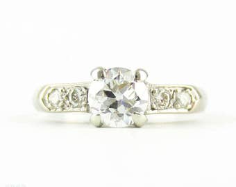Vintage Old European Cut Diamond Engagement Ring, 0.60 ct with Bead Set Accents. Circa 1950, 14K.