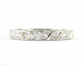 Antique Diamond Wedding Ring. Rope Detail Full Hoop Diamond Eternity Band. Circa 1910s, Platinum. Size M.5 / 6.5.