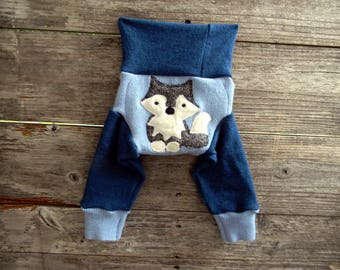 NEWBORN Upcycled Merino Wool Longies Soaker Cover Diaper Cover With Added Doubler Light Blue/ Teal With Wolf Applique NEWBORN 0-3M