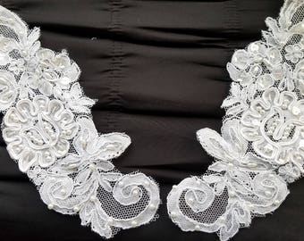 Beaded white bridal lace appliques for collars, accessories, embellishments and more 10 pairs WHOLESALE