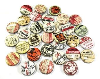 """Poison, 1"""" Button, Poison Pin, Poison Button, Poison Pinback, Poison Flatback, Poison Theme, Poison Decor, Poison Badge, Poison, Caution"""