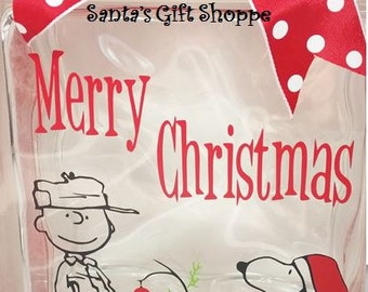 Christmas - Charlie Brown Christmas Inspired - Glass Block Crafts - approx.6.5in. x 6.5in.Vinyl Decals - GLASS NOT INCLUDED - Christmas Gift