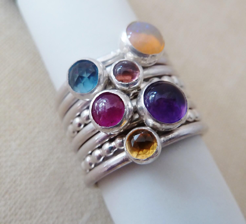 sterling silver stacking custom birthstone ring zodiac ruby