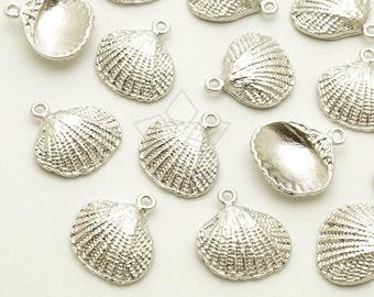 PD-1796-MS / 2 Pcs - Mini Shell Charm, Small Seashell Pendant, Matte Silver Plated over Brass / 12mm x 12mm