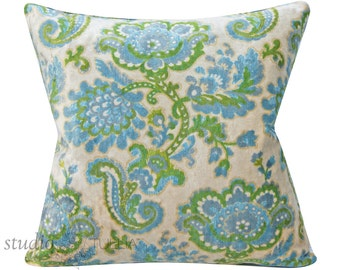Vintage Velvet Pillow Cover - 20 inch - Floral - botanical - mid century - ready to ship