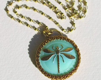 Antique Czech Glass Dragonfly Beaded Necklace