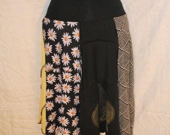 Recycled tee shirt skirt  medium with rayon waistband