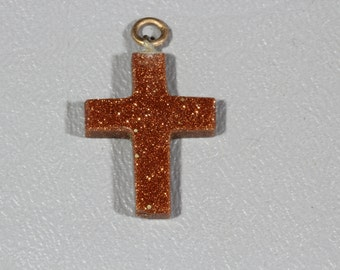Vintage Goldstone Cross Charm Pendant Fob