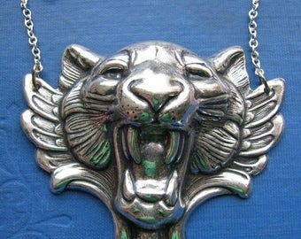 SALE gothic winged tiger necklace in silver