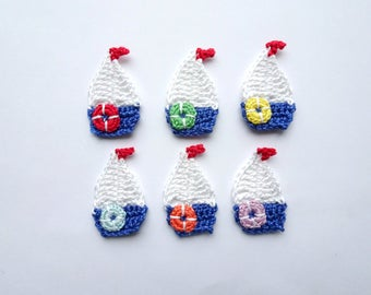 Crochet sailboat applique - nautical applique - sailboat decorations - nautical party decorations - nautical theme embellishments - set of 6