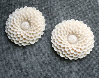 Chrysanthemum Cabochon - Set of 4 (2 ivory 2 dark grey)
