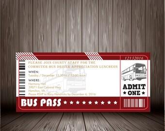 Printable Digital Bus Ticket Birthday Invitation Design, Birthday Party Invite