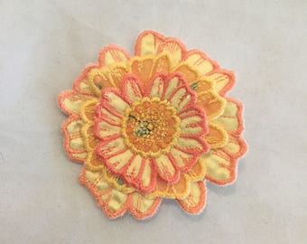 3D Layered Fabric Flower Clip (yellow)